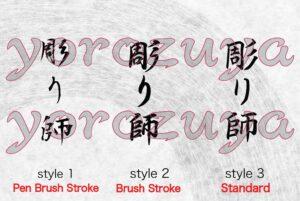 Tattoo Artist In Japanese Kanji symbols, writing style comparison, vertical orientation