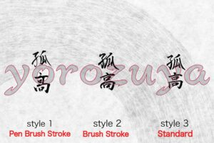 Maverick in Japanese Kanji Symbol Simple Word Tattoo For Neck, Forearm and Arm. Style Comparison Vertical
