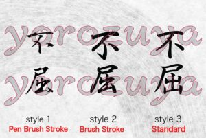 Never Give Up in Japanese Kanji for Tattoo comparing writing style, vertical orientation