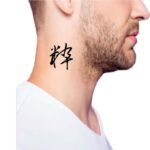 Simple one word Kanji Tattoo for Guys Side Neck
