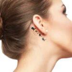 Ikigai, simple word tattoo behind Ear deep meaning