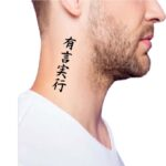 meaningful side neck tattoos for guys, kanji neck tattoo