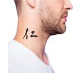 Simple Word with deep meaning Tattoo for guys, side neck