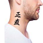 Simple word side neck tattoos, Japanese Kanji letter tattoo