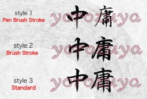 Japanese Kanji Symbol Simple Word Tattoo For Neck, Forearm and Arm. Style Comparison Horizontal