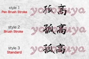 Maverick in Japanese Kanji Symbol Simple Word Tattoo For Neck, Forearm and Arm. Style Comparison Horizontal