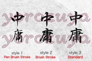 """Japanese Kanji Symbol Simple Word Tattoo For Neck, Forearm and Arm. Style Comparison Vertical """"moderate"""""""