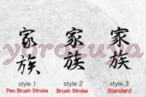 Family in Japanese Kanji Symbol Simple Word Tattoo For Neck, Style Comparison Vertical