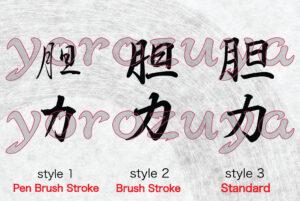 Simple Word Tattoo Idea Grit In Japanese Kanji Symbol style comparison vertical orientation