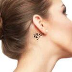 Simple Word Tattoo, Bear in Japanese kanji Tattoo on behind the ear