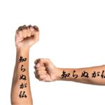 japanese kanji word tattoo on forearm