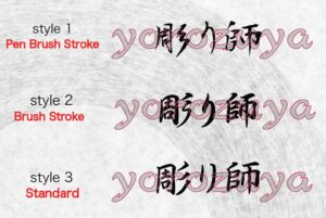 Tattoo Artist In Japanese Kanji symbols, writing style comparison, horizontal orientation