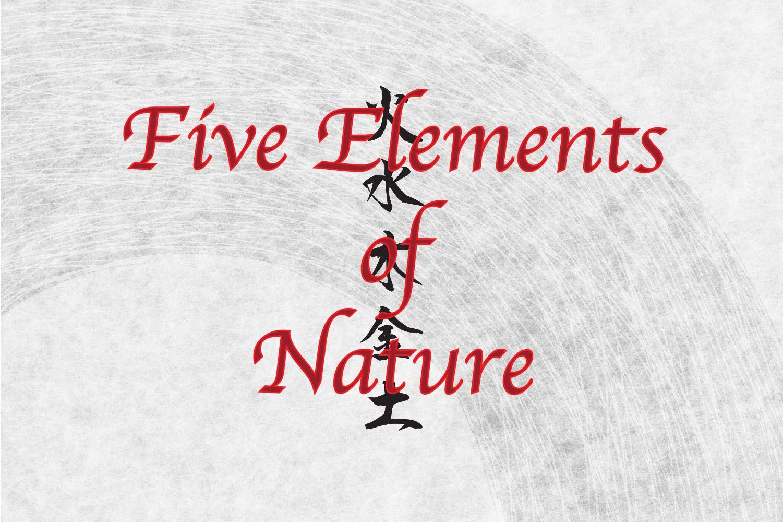 japanese Kanji Symbols for Five Elements of nature