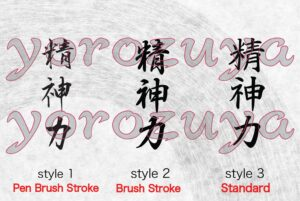 Japanese Letter Tattoo Ideas Mental Strength vertical writing